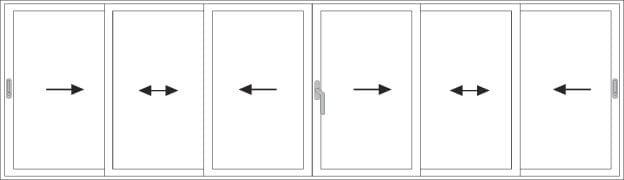 Porte scorrevoli 6 ante