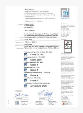 Certificato ITT 4Stars finestra con 1 ante