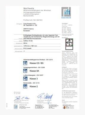 Certificato ITT 5Stars finestra con 1 ante